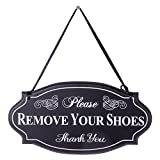 NIKKY HOME Please Remove Your Shoes Thank You Wooden Wall Decorative Sign 11.75 x 0.37 x 6.13 Inches Black