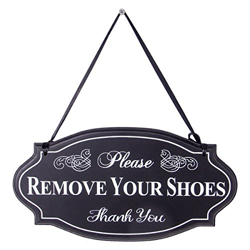 (NIKKY HOME Please Remove Your Shoes Thank You Wooden Wall Decorative Sign 11.75 x 0.37 x 6.13 Inches Black)