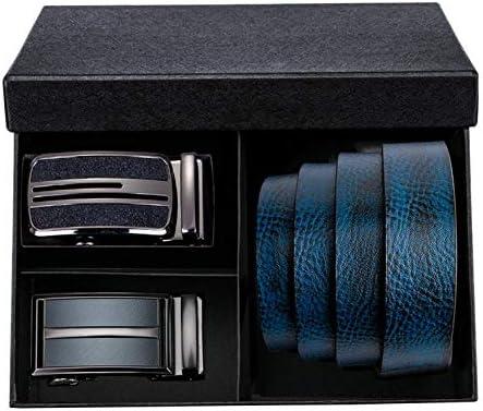 YUANZYYD Cinturón De Hombre,Cinturones para Hombre Caja De Regalo Azul Hebilla Automática Piel De Vaca Cinturón De Cuero Dividido para Jeans Cinturones De Negocios De Moda A 140 Cm: Amazon.es: Deportes y