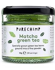 Matcha Green Tea Powder 50g(1.75oz) by PureChimp - Ceremonial Grade from Japan - Pesticide-Free - Recyclable Glass Jars & Aluminium Lid