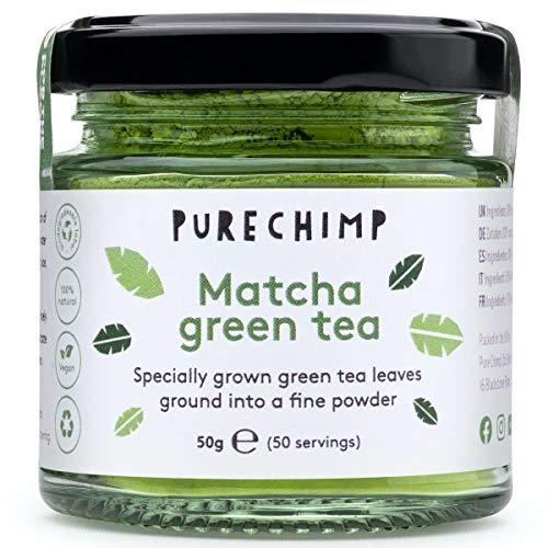 Te Matcha Verde en Polvo 50g de PureChimp | Grado Ceremonial De Japon | Sin Pesticidas | Tarro de Cristal Reciclable y Tapa de Aluminio