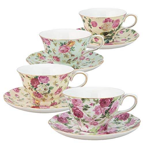 (Gracie China by Coastline Imports 33708B Rose Chintz 8-Ounce Porcelain Tea Cup and Saucer, Set of 4)