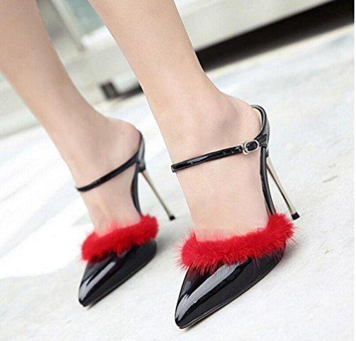 Las correas del tobillo de la boda bombas Scarpin el 11cm del talón del conejo de la decoración del pelo Las señoras del verano señalaron los zapatos del dedo del pie UE tamaño 35-40 Black