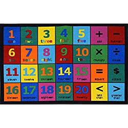 Play Time Kids Reversible Area Rug Numbers Learning Carpet Game Room (5 3 Inch X 7 Feet 2 Inch), Multicolor