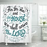 VaryHome Shower Curtain As for Me and My House We Shall Serve the Lord Joshua 24 15 Bible Quote Hand Lettering White Waterproof Polyester Fabric 72 x 72 inches Set with Hooks