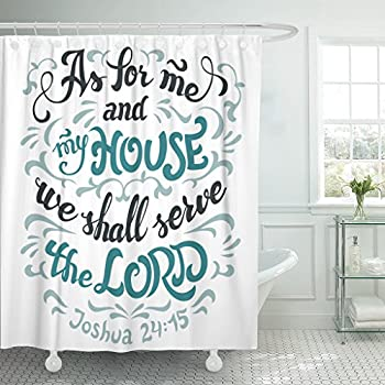Emvency Shower Curtain As For Me And My House We Shall Serve The Lord Joshua 24 15 Bible Quote Hand Lettering White Waterproof Polyester Fabric 72 X