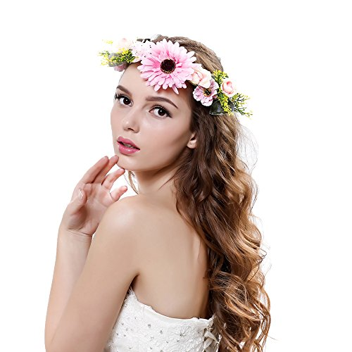 Women handmade Exquisite Daisy Flower Crown with Adjustable Ribbon Wedding Festivals (pink)