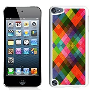 NEW Unique Custom Designed iPod Touch 5 Phone Case With Multicolored Diamonds Pattern Abstract_White Phone Case