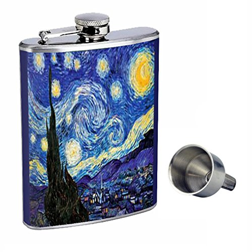 Vincent Van Gogh Starry Night Perfection In Style 8oz Stainless Steel Whiskey Flask with Free Funnel D-141 (Vodka Van Gogh)