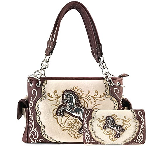 Justin West Horse Embroidery Studded Concealed Carry Hand...
