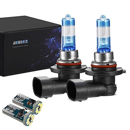 AUHDER 9005 HB3 12V 65W Halogen Headlight Bulb Upgrade Vision High Performance 2 Bulbs(Contains 2 PCS Super Bright Error Free T10 194 Auto LED Bulbs) (9005)