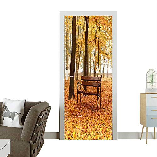 (Door Sticker Rustic Bench Golden Pale Park Mist Day November Love Fall Seas Removable Door Decal for Home DecorW38.5 x H77 INCH)