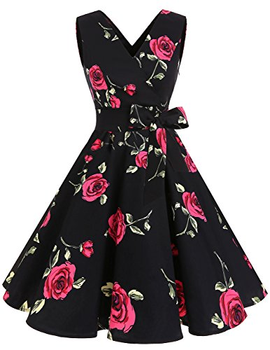 DRESSTELLS Vintage 1950s Solid Color V Neck Retro Swing Dress With Bow Tie Red Flower XL (Retro Bow)