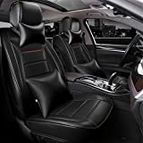 ANKIV Solid Color Black FULL SET Classical PU Leather Car Seat Covers Universal Fit 5 Seats Car Adjustable Auto Seat Cushions with 2 Waist Pillows 2 Neck Pillows