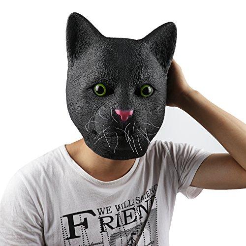 Supmaker Halloweeen Costume Party Black Cat Latex Animal Head (Halloweeen Masks)