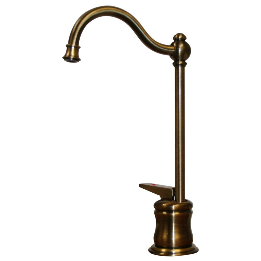 Whitehaus WHFH3-H66-ABRAS Forever Hot 6-5/8-Inch Instant Hot Water Dispenser with Traditional Spout, Antique Brass