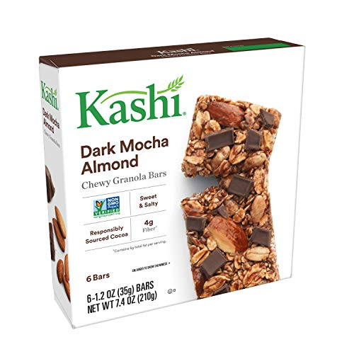 Kashi Chewy Dark Mocha Almond Granola Bars - Vegan | Box of 6 (Pack of 8) (Bar Dark Chocolate Mocha Almond)