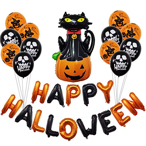 Halloween Party Balloons Set - Happy Halloween Foil Balloons Ghost Pumpkin Latex Balloons Hanging Decoration Party Supplies - A ()