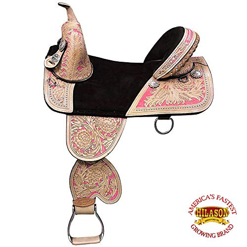 HILASON 13″ 14″ 15″ 16″ 17″ 18″ TREELESS Western Barrel Racing Trail Horse Saddle TAN/Mahogany/Beige/Black/Brown/Vintage/Oiled/Turquoise