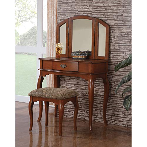 BOBKONA Jaden Collection Vanity Set with Stool, - Cherry Light Wood