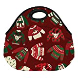 DKISEE Watercolor Ugly Sweater Gift Wrap Large & Thick Neoprene Lunch Bags Insulated Lunch Tote Bags Cooler Warm Warm Pouch for Women Teens Girls Kids Adults