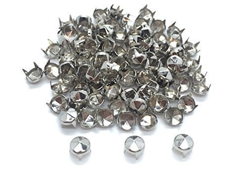 Shop Head Rivet (Trimming Shop 100 Pieces Diamond Cut Nail Head Studs Hand Pressed Rivets Suitable For Leather Crafting Decorating Clothes Jackets Belts Silver)