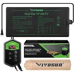 "VIVOSUN 10""x20.75"" Seedling Heat Mat and Digital Thermostat Combo Set MET Standard"