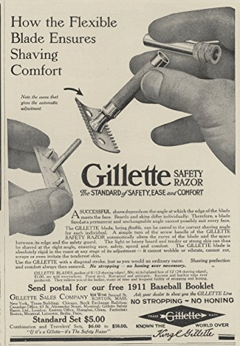1911-ad-gillette-safety-razor-flexible-blade-ensures-shaving-comfort-original-vintage-advertisement
