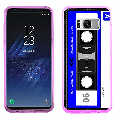 Fit Galaxy S8 PLUS, One Tough Shield Slim-Fit TPU Gel Phone Case (Pink Bezel) for Samsung Galaxy S8+ / S8 PLUS - Cassette Blue