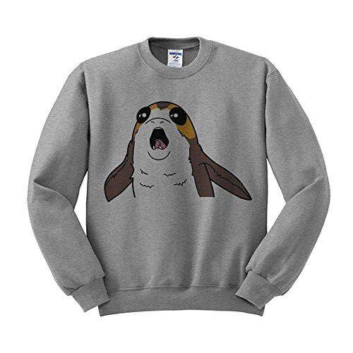 TeesAndTankYou Porg Sweatshirt Unisex Medium (Fleece Screen Print Sweatshirt)