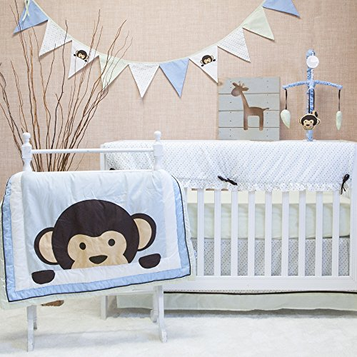 Pam Grace Creations Maddox Monkey Mix & Match 10 Piece Crib Bedding Set (Girl Monkey Crib Bedding)