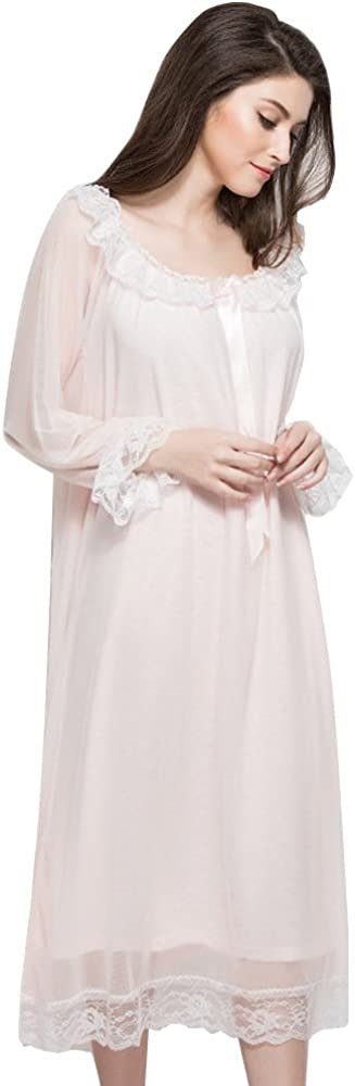 Womens Bathrobe Long Cotton Yarn Vintage Lace Loose Robe Plus Size Sleepwear Nightgowns Pink S At Amazon Women S Clothing Store