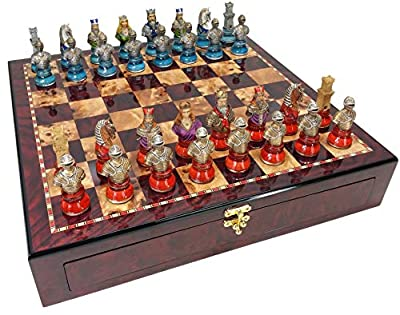 "HPL Medieval Times Crusades Knight Red & Blue Busts Chess Men Set w/ Large 20"" Cherry Color Storage Board"