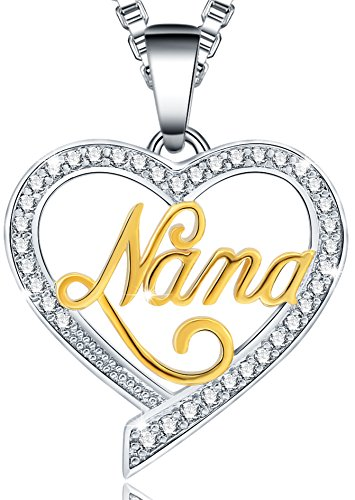 Ado Glo Christmas Day Gifts Nana Love Heart Pendant Necklace, Fashion Jewelry for Women, Birthday Thanksgiving Xmas Present from Granddaughter Grandson to Her ()
