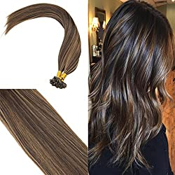 Youngsee 1G/Strand Remy Keratin Tips Human Hair Extensions U Tip Darkest Brown with Medium Brown Lowlight Fusion Glue Hair Extensions Real Human Hair 50G 20inch