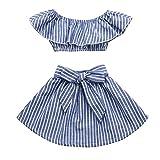 Moana Little Girls' 2Pcs Suit Cartoon Shirt and Skirt Set Outfits Blue