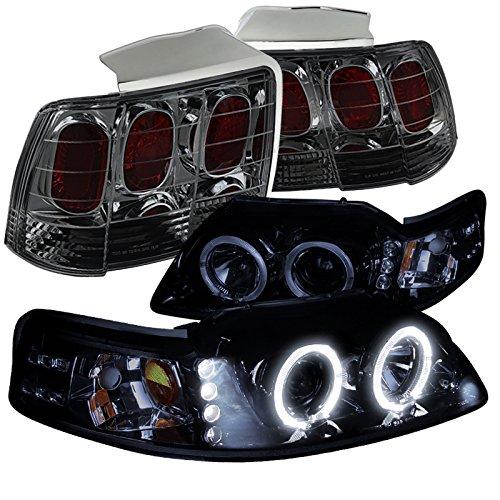 Ford Mustang Glossy Black Halo Projector Headlights+Smoke Lens Tail Brake (Mustang Tail Lamp Housing)