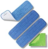 Microfiber Pros Reusable 18'' Mop Pads 3 Pack and Bonus Cloth - Commercial Grade 450 GSM Flat Replacement Heads for Wet Or Dry Floor Cleaning, Scrubbing, Childcare Supplies, Dusting