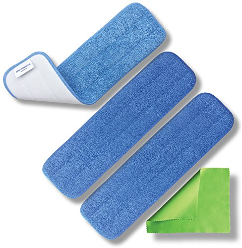 "Microfiber Pros Reusable 18"" Mop Pads - 3 Pack and Bonus Cloth - Commercial Grade 450 GSM Flat Replacement Heads for Wet Or Dry Floor Cleaning and Scrubbing"