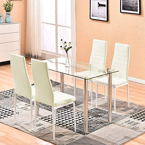 Rainbow Tree Table and Chairs Dining Set,5 Piece Tempered Glass Dining Table Set with 4 Pu Leather Chairs Metal Kitchen Room Furniture (White) ()