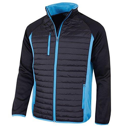 Sunderland Mens SUNMC81 Zip Front Padded Golf Jacket-Black/Azure Blue-X-Large