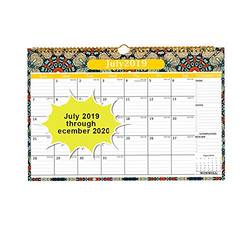 (Calendar 2019-2020 - Wall Calendar 2019 Family Academic Calendar with 18 Months,Thick Paper Perfect for Organizing & Planning 15×12 inch)