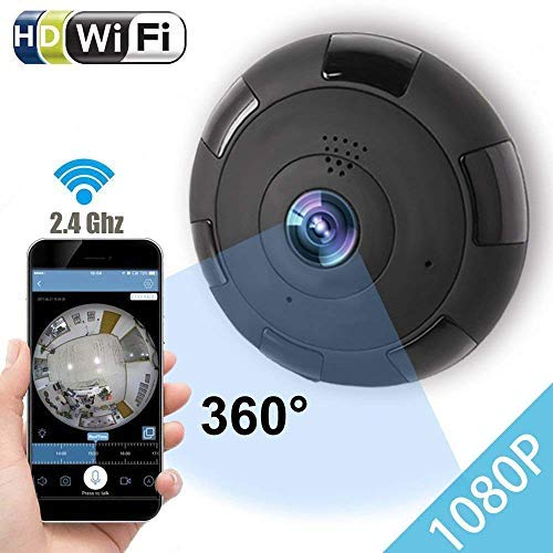 IP Camera 360 WIFI 1080P Outdoor Indoor Dome Camera Panoramic with Audio Motion Detection Alarm Monitor at Night for Home Security Support TF Card Android IOS,Home Electronic ()
