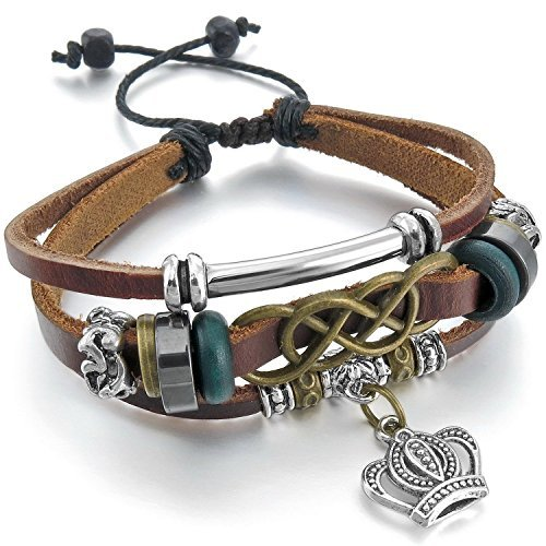 MENDINO Mens Braided Leather Bracelet Crown Pendant Ireland Celtic Knot Cuff Adjustable Brown Tone with a Velvet Bag