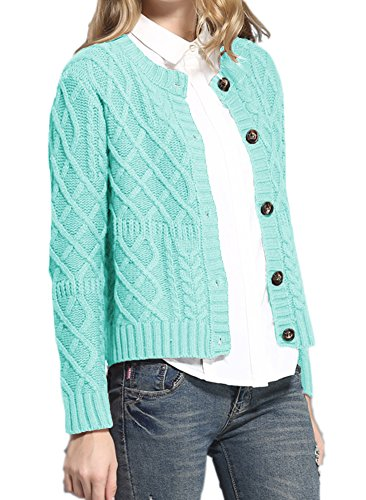 v28 Women Vintage Cotton Cable Knitted Button Long Sleeves Coat Sweater Cardigan(Medium, Peacock Blue)