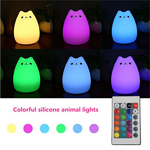 Colorful Silicom Animal Light Up Cat Led Children Night Light 7 Color Remote Control Bedroom Lamb Usb Rechargeable Lighting Special Gift