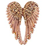 EVER FAITH Women's Austrian Crystal Enamel Angel Wings Brooch Pin Brown Gold-Tone