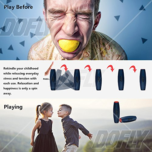 Amazing Desk Toy, DOFLY Spinner Stick Fidget Toy Easy to Flip Roll Made of Beech Desktop Hand Toy Anxiety Release for Office Home Party Class Bar( Blue ) Photo #4