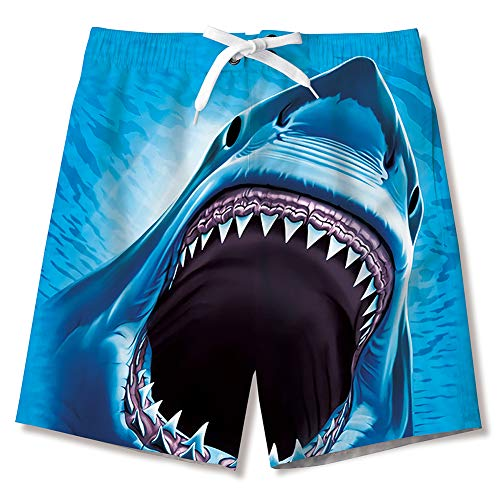 (uideazone Summer Boy's Gym Sports Shorts Surf Board Quick Dry Swim Beach Trunks Swimsuit 3D Shark Printed Board Shorts with Mesh Lining)