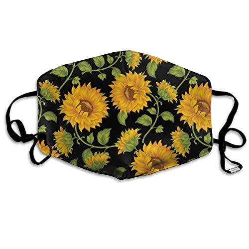 QIZI Fashion Earloop Face Mask, Beautiful Sunflower, Dental Surgical Flu Mask Germ Dust Protection Filter Face Masks for Men -